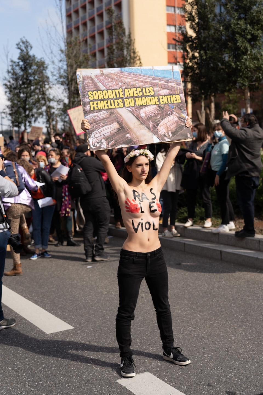 """Seins nus, une militante de la cause animale montre une pancarte sur laquelle on peut lire  """"Sororité avec les femelles du monde entier"""" lors de la manifestation pour la journée sur les droits des femmes. Toulouse, 8 mars 2021."""