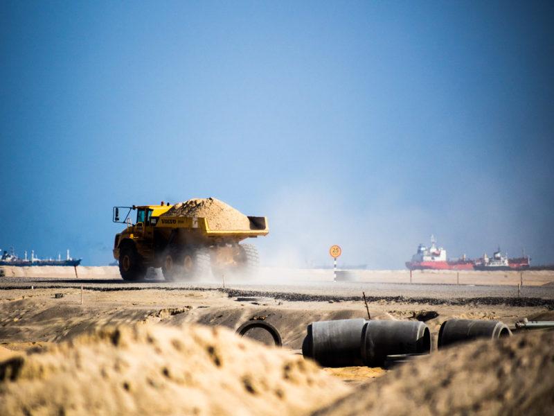Photographie de chantier: projet Eko Atlantic photographié par le photographe d'entreprise et photographe de chantier Grégory Dziedzic.